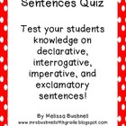 Four Types of Sentences Quiz Freebie!