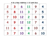 Four in a Row -Addition 1-12 with Dice
