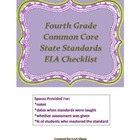 Fourth Grade CCSS ELA Checklist:  Documenting the CCSS