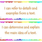 Fourth Grade Common Core I Can Statements - ELA - Informat