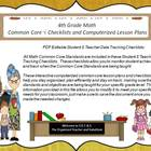 Fourth Grade Common Core Math Checklists and Drop Down Les