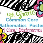 Fourth Grade Common Core Math I Can Statements with Zebra