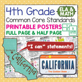 "Fourth Grade Common Core Standard ""I Can Statements"" Poste"