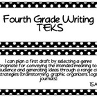 Fourth Grade Writing TEKS~ White Dots on Black
