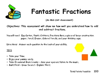 Fraction Assessment using Manipulatives