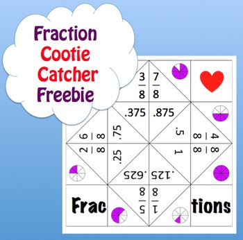 Fraction Cootie Catcher Memory Tool / Game