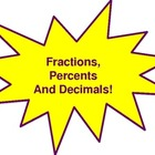Fraction, Decimal, Percent Conversion Wall Hangings (Yello