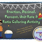 Fraction, Decimal, Percent, Unit Rate & Ratio Party Colori