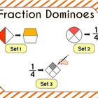 Fraction Dominoes & Craftivity - halves through fourths