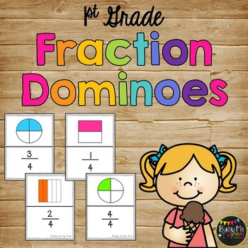 Fraction Dominoes Game Fourths, Thirds, Halves, Wholes