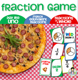 Fraction Game Uno-Inspired *Pizza Themed*