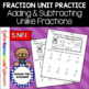 Fraction Unit - Adding and Subtracting Unlike Fractions Worksheet