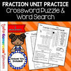 Fraction Unit - Fraction Defintions Crossword and Word Search