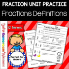 Fraction Unit - Fraction Vocabulary and Definitions