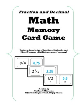 Fraction and Decimal Math Memory Game