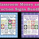 Fraction and Money Identification Signs and Books for Your