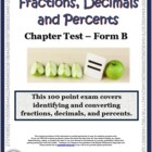 Fractions, Decimals & Percents: A Chapter Math Test