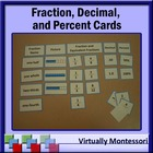 Fractions, Decimals, & Percents Cards: Montessori-inspired