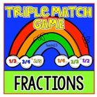 Fractions: Rainbow Triple Match Game 2nd and 3rd Common Core