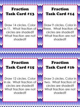 Fractions Task Cards 1st, 2nd, 3rd