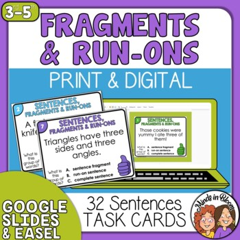 Fragments & Run-Ons Task Cards Set 2: 32 Multiple Choice C