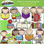 Freddy & Freida Reading Kids Clip Art