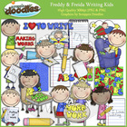 Freddy & Freida Writing Kids Clip Art