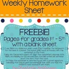 Free 1st Grade Weekly Homework Sheet