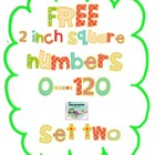 "Free 2"" Square Numbers 0-120, Set Two"
