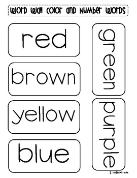 Free Color and Number Words for Word Wall