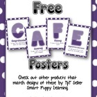 Free Daily 5 CAFE Posters - 1&2 PURPLE Polka Dot