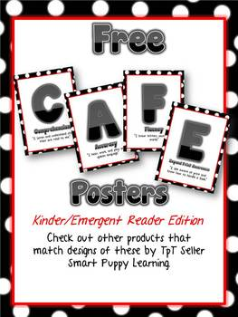 Free Daily 5 CAFE Posters - Kinder RED Polka Dot