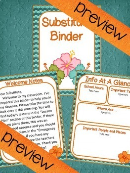 Free Editable Beach Themed Substitute Binder