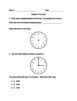 Free - Elapsed Time Quiz