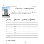 Free Fall Acceleration Worksheet