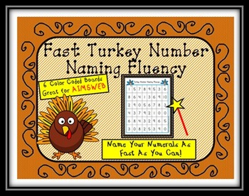Free Fast Turkey Number Naming Fluency AIMSWEB 0-10