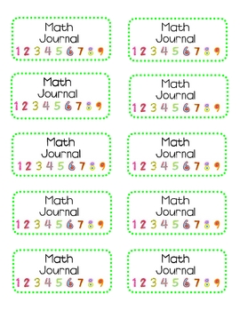 Free Math Journal label