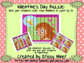Free Monkey Puzzle and Valentine Card Kit