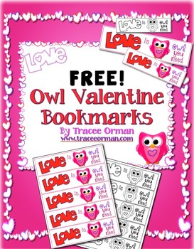 Free Owl Bookmarks for Valentine's Day