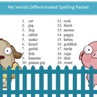 Free Pets spelling packet by SpellingPackets.com