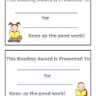 Free Reading Award Certificate