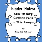 Free!  Binder Notes:  Rules for Writing Dialogue