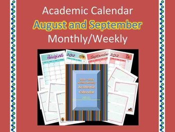 Free Sample Academic Calendar August and September2012-2013