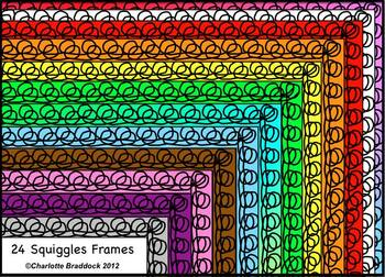 Free Sample: Squiggles Borders and Frames- For Personal or