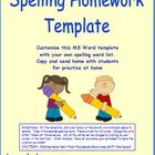 Free Spelling Homework Customize with Your Words for Grades 1 2 3