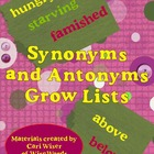 Free Standards Based Grow Lists for Test Prep: Synonyms an