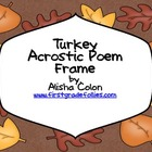 Free Turkey Acrostic Poem Frame