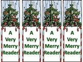 """Free! Christmas Bookmarks """"A Very Merry Reader."""""""