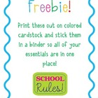 Freebie! Classroom Binder Printable