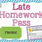 {Freebie} LATE Homework Pass